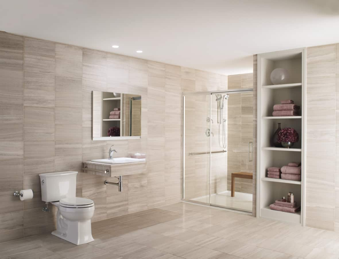 home depot design. beige bathroom with wall mounted sink and frameless shower doors Inspirational Bathroom Shower Designs  Angie s List