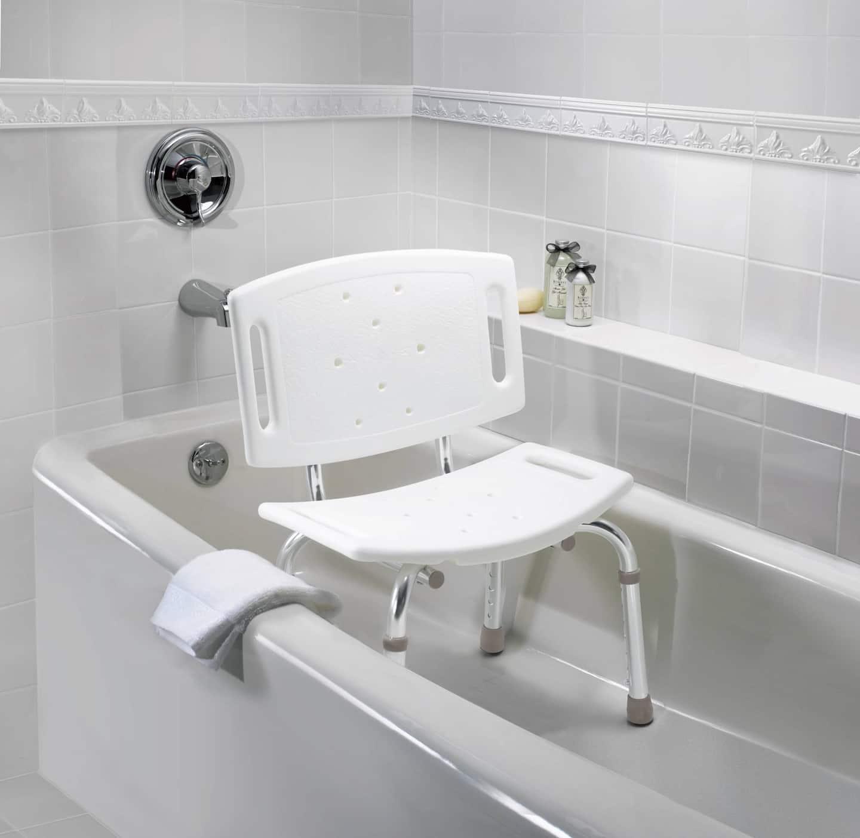 freestanding shower chair in bathtub