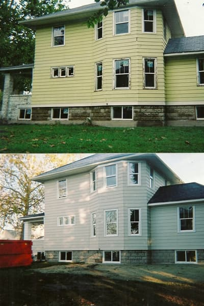 Removing all of the old paint using the appropriate pressure washing and scraping methods will help ensure that your new paint won't peel off when dry. (Photo courtesy of TNT Dynamite Decorators)