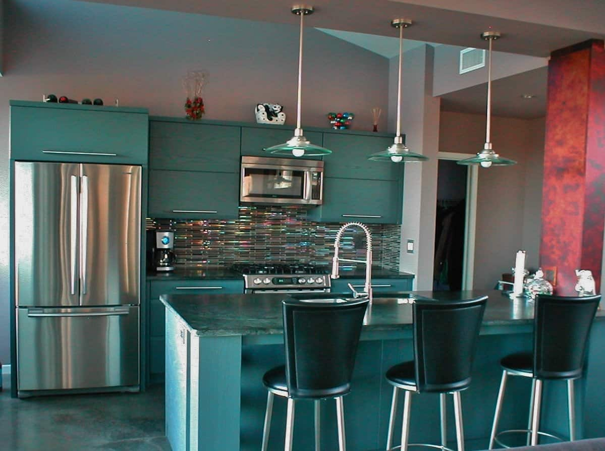 Gallery Kitchen With Blue Soapstone And Gl Tile Color Accents