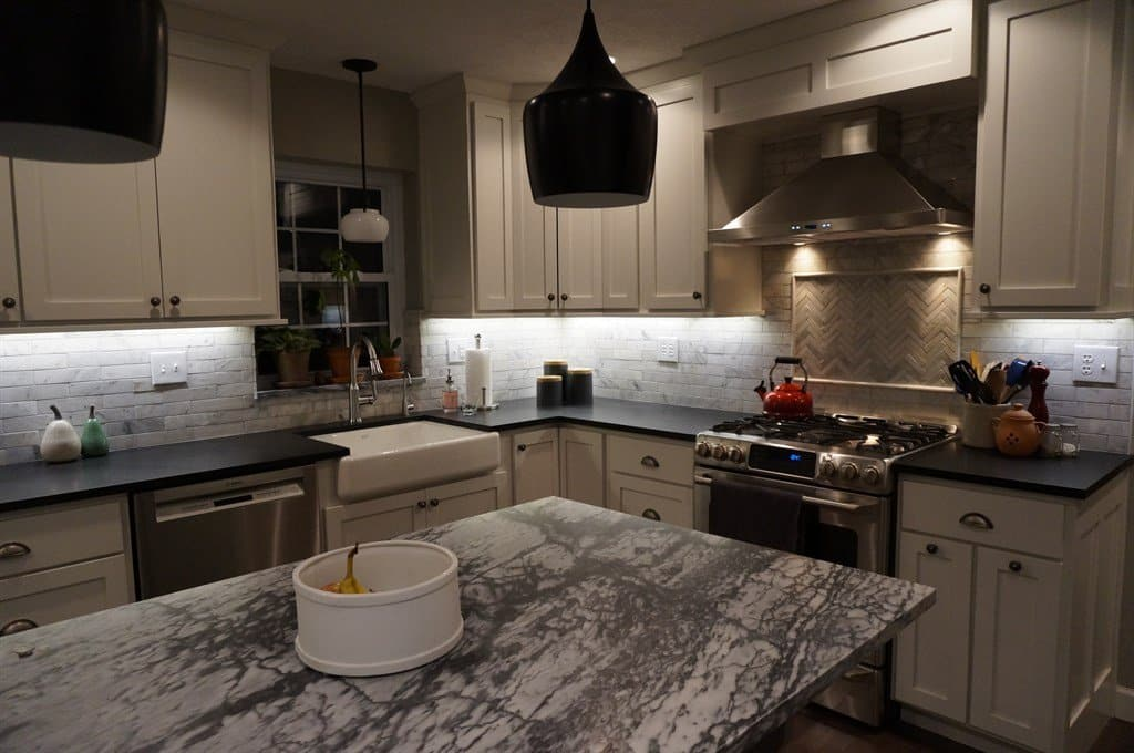 solid black soapstone countertops and marble look soapstone island