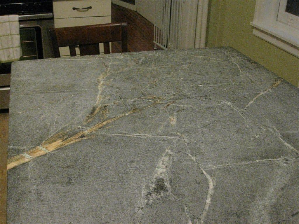 Marble look soapstone island countertop
