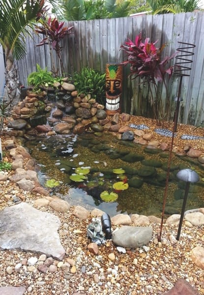 Homeowner Kelly Garber says Belaqua installed a fantastic pond with a 4,000 gallons-per-hour pump. (Photo courtesy of Kelly Garber)