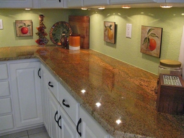 Stone Saver granite countertop installation included a fabricated piece to fit an existing pony wall. (Photo courtesy of Angie's List member Jeanne L. of Wesley Chapel, Florida)