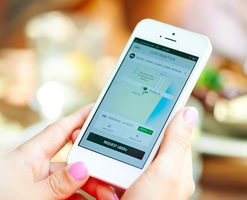 Rideshare services like Uber and Lyft are powered by smartphone apps that allow riders to request a ride with a push of a couple of buttons. (Photo courtesy of Uber)