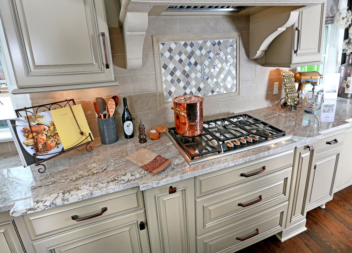 Kitchen with Granite Countertops and Tile Backsplash ...