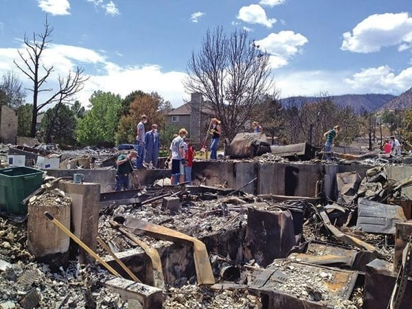 Take preventive steps to mitigate damage to your home in case of a wildfire, like the one that destroyed this home. (Photo courtesy of Angie's List member Carla A. of Colorado Springs, Colo.)
