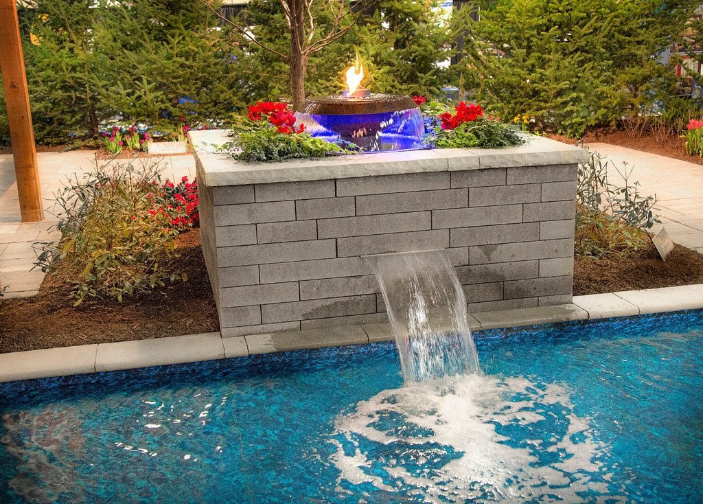 pool waterfall with fire feature by calvin landscape - Pool Waterfall