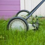 rotary mower and tall green grass