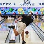 A bowler throwing his ball at Beech Grove Bowl