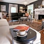 black walls in a formal living room