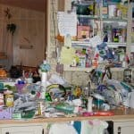Clutter kitchen trash piles