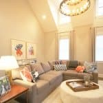A vaulted ceiling with wainscoting makes a room feel much larger.
