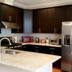 dark stained wood cabinets