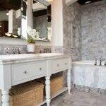 trendy bathroom remodel with stone (Photo by Brandon Smith)