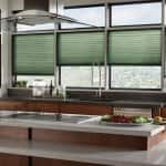woven wood blinds in kitchen