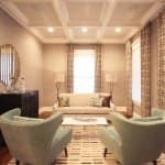 coffered ceiling with can lighting in formal sitting room