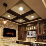 electric fireplace wall mount stone tile kitchen