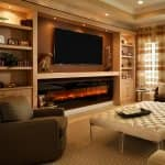 electric fireplace built-in wall TV mount bookshelves