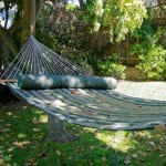 A hammock hanging in a backyard