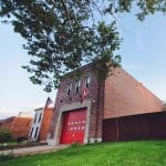 exterior of renovated fire station in St. Louis