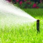 lawn irrigation spicket spraying water on lawn