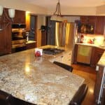 kitchen remodel with custom-designed island and cooktop