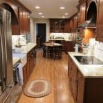 Kitchen Remodel with Granite Countertops and Travertine Tile Backsplash