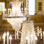 hanging glass bead chandelier with candle lights