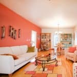 living room, colorful carpet