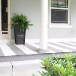 front porch with painted stripes