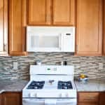 kitchen with microwave above oven