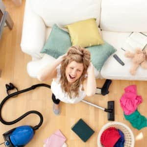 woman stressed about cleaning