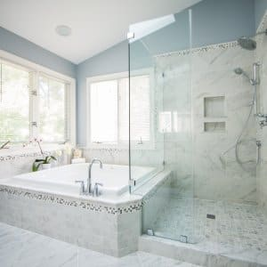 master bath with tub, shower, blue, gray and white paint
