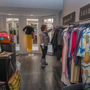 woman in clothing boutique