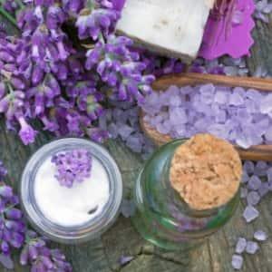 lavender plant and bath salts