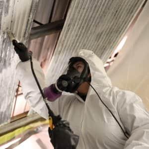 asbestos contractor haz-mat suit mask respirator