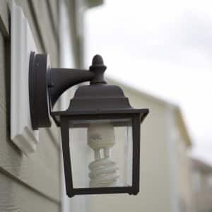 outdoor light fixture with CFL bulb (Photo by Eldon Lindsay)