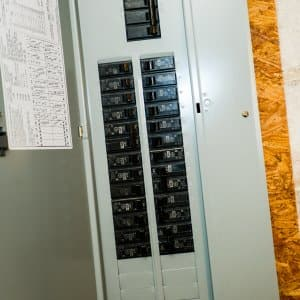 Newly installed circuit breaker box in a home