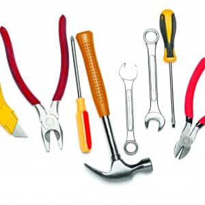 hammer, wrench, screwdriver, other tools