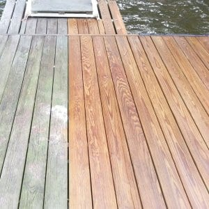 before and after photo of deck cleaning