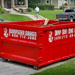 Dumpster on a residential street