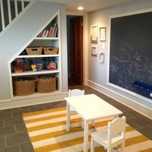 A children's play area in a basement