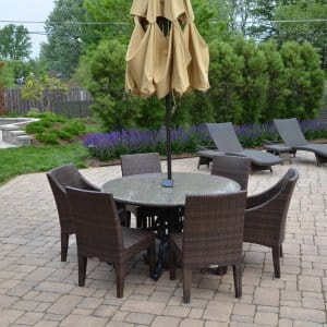 patio table on pavers