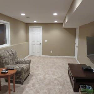 family room in finished basement