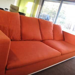 A Professional Cleaning Left This Bright Colored Sofa Looking Like New.  (Photo Courtesy. Upholstery Cleaning