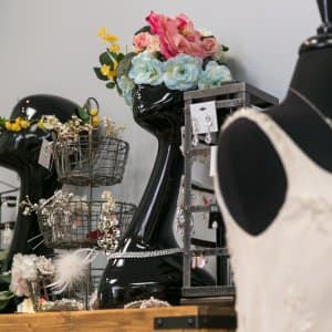 wedding gown and bridal accessories