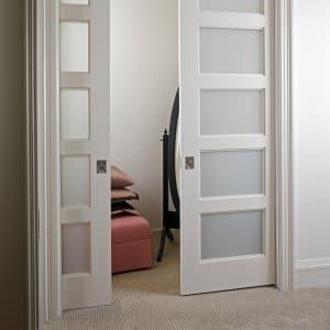 Marvelous TruStile Doors Sliding Pocket Doors With White Lami Glass Panels