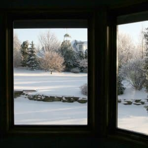 winter view from inside a house