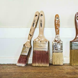 several paint-spattered paintbrushes (Photo by Photo by Katelin Kinney  )